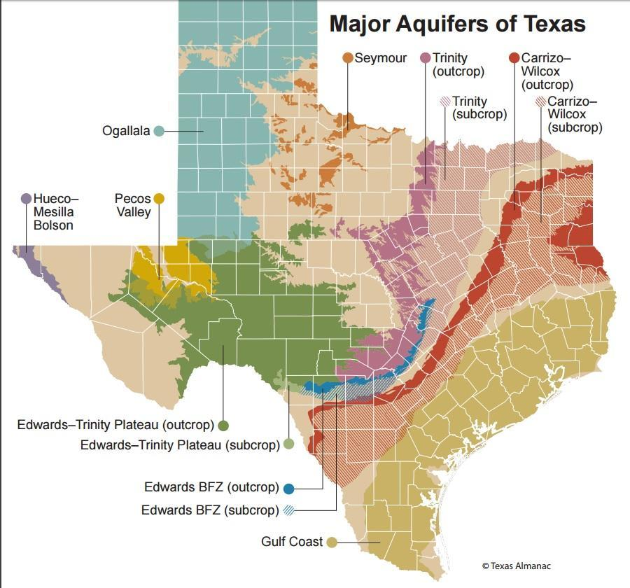 Map Of The Texas.Major Texas Aquifers Interactive Well Depth Map